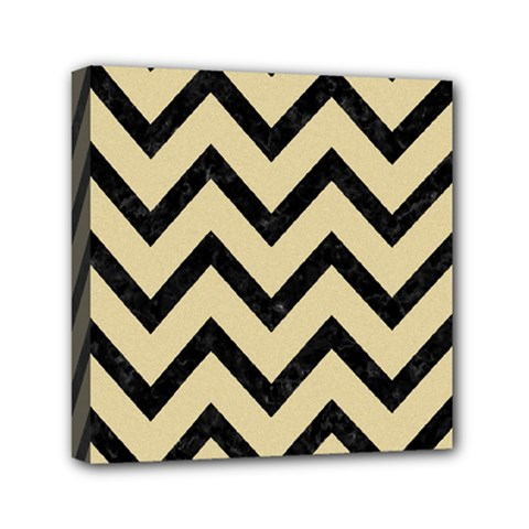 Chevron9 Black Marble & Light Sand (r) Mini Canvas 6  X 6  by trendistuff