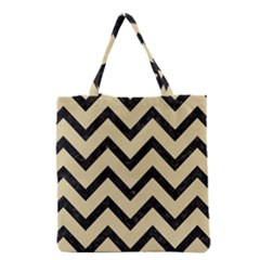 Chevron9 Black Marble & Light Sand (r) Grocery Tote Bag by trendistuff