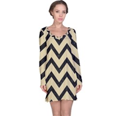 Chevron9 Black Marble & Light Sand (r) Long Sleeve Nightdress
