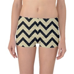 Chevron9 Black Marble & Light Sand (r) Boyleg Bikini Bottoms by trendistuff