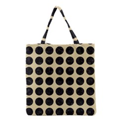 Circles1 Black Marble & Light Sand (r) Grocery Tote Bag by trendistuff