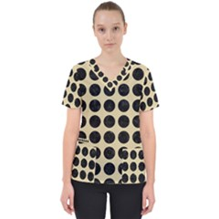 Circles1 Black Marble & Light Sand (r) Scrub Top by trendistuff