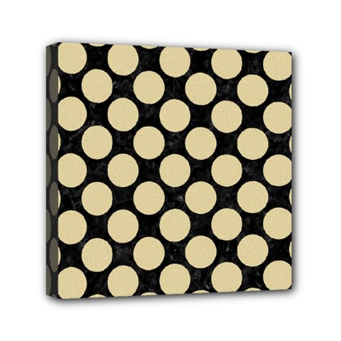 Circles2 Black Marble & Light Sand Mini Canvas 6  X 6  by trendistuff