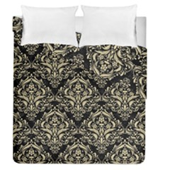 Damask1 Black Marble & Light Sand Duvet Cover Double Side (queen Size) by trendistuff