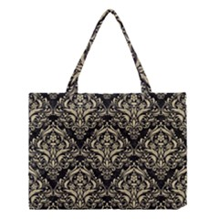 Damask1 Black Marble & Light Sand Medium Tote Bag by trendistuff