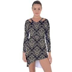 Damask1 Black Marble & Light Sand Asymmetric Cut Out Shift Dress by trendistuff