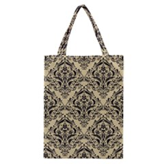 Damask1 Black Marble & Light Sand (r) Classic Tote Bag by trendistuff