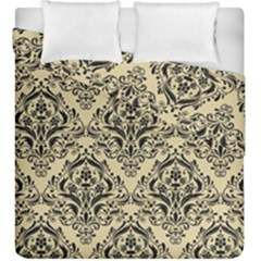 Damask1 Black Marble & Light Sand (r) Duvet Cover Double Side (king Size) by trendistuff