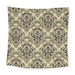 Damask1 Black Marble & Light Sand (r) Square Tapestry (large) by trendistuff