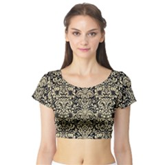 Damask2 Black Marble & Light Sand Short Sleeve Crop Top by trendistuff