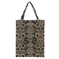 Damask2 Black Marble & Light Sand Classic Tote Bag by trendistuff