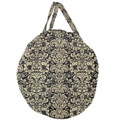 Damask2 Black Marble & Light Sand Giant Round Zipper Tote
