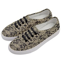 Damask2 Black Marble & Light Sand Women s Classic Low Top Sneakers by trendistuff