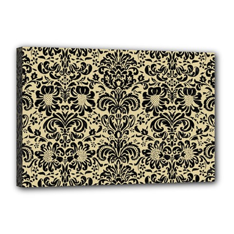 Damask2 Black Marble & Light Sand (r) Canvas 18  X 12  by trendistuff