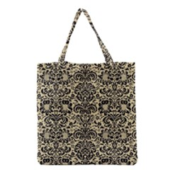 Damask2 Black Marble & Light Sand (r) Grocery Tote Bag by trendistuff