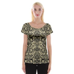 Damask2 Black Marble & Light Sand (r) Cap Sleeve Tops by trendistuff