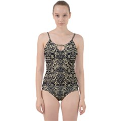 Damask2 Black Marble & Light Sand (r) Cut Out Top Tankini Set by trendistuff