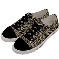 Damask2 Black Marble & Light Sand (r) Men s Low Top Canvas Sneakers by trendistuff