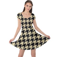 Houndstooth1 Black Marble & Light Sand Cap Sleeve Dress by trendistuff