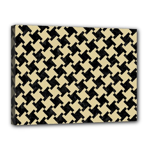 Houndstooth2 Black Marble & Light Sand Canvas 16  X 12  by trendistuff