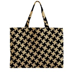 Houndstooth2 Black Marble & Light Sand Zipper Mini Tote Bag by trendistuff