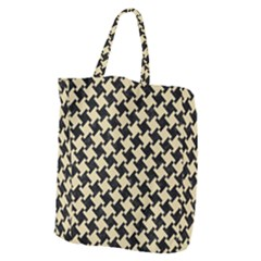 Houndstooth2 Black Marble & Light Sand Giant Grocery Zipper Tote by trendistuff