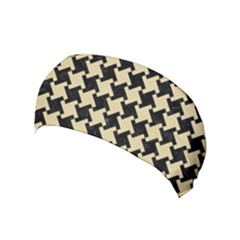 Houndstooth2 Black Marble & Light Sand Yoga Headband by trendistuff