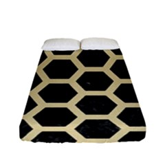 Hexagon2 Black Marble & Light Sand Fitted Sheet (full/ Double Size) by trendistuff