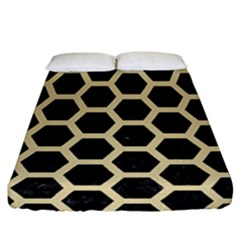 Hexagon2 Black Marble & Light Sand Fitted Sheet (california King Size) by trendistuff