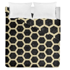 Hexagon2 Black Marble & Light Sand Duvet Cover Double Side (queen Size) by trendistuff