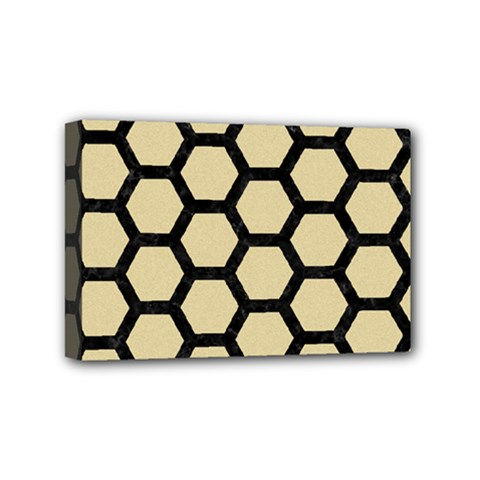 Hexagon2 Black Marble & Light Sand (r) Mini Canvas 6  X 4