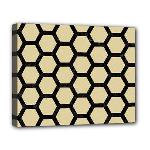 Hexagon2 Black Marble & Light Sand (r) Deluxe Canvas 20  X 16   by trendistuff