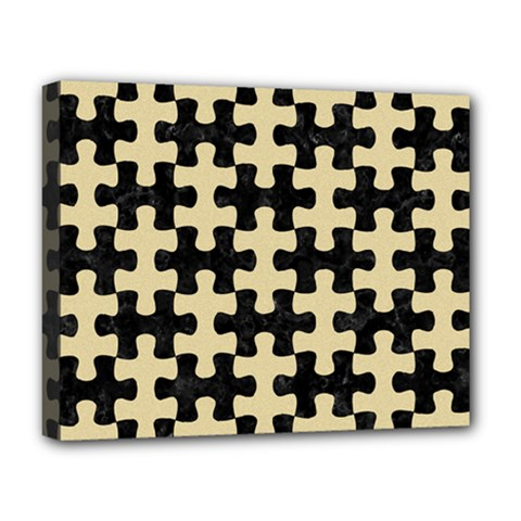 Puzzle1 Black Marble & Light Sand Deluxe Canvas 20  X 16   by trendistuff