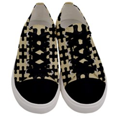 Puzzle1 Black Marble & Light Sand Men s Low Top Canvas Sneakers