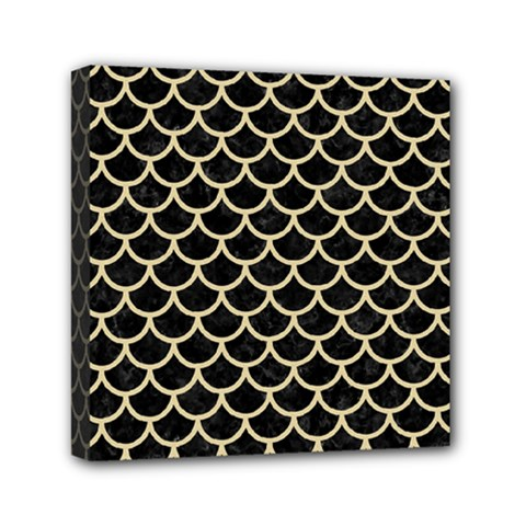 Scales1 Black Marble & Light Sand Mini Canvas 6  X 6  by trendistuff