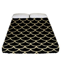 Scales1 Black Marble & Light Sand Fitted Sheet (queen Size) by trendistuff
