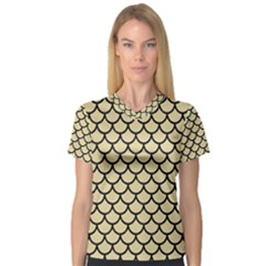 Scales1 Black Marble & Light Sand (r) V Neck Sport Mesh Tee by trendistuff