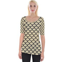 Scales1 Black Marble & Light Sand (r) Wide Neckline Tee