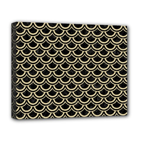 Scales2 Black Marble & Light Sand Deluxe Canvas 20  X 16   by trendistuff