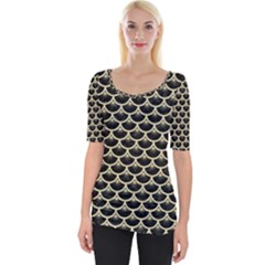 Scales3 Black Marble & Light Sand Wide Neckline Tee