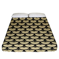 Scales3 Black Marble & Light Sand (r) Fitted Sheet (queen Size) by trendistuff
