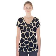 Skin1 Black Marble & Light Sand (r) Short Sleeve Front Detail Top by trendistuff
