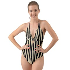 Skin4 Black Marble & Light Sand Halter Cut Out One Piece Swimsuit