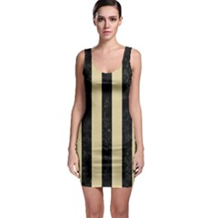 Stripes1 Black Marble & Light Sand Bodycon Dress by trendistuff