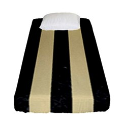 Stripes1 Black Marble & Light Sand Fitted Sheet (single Size) by trendistuff