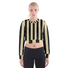 Stripes1 Black Marble & Light Sand Cropped Sweatshirt by trendistuff