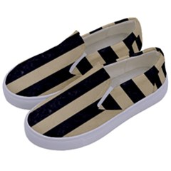Stripes1 Black Marble & Light Sand Kids  Canvas Slip Ons by trendistuff