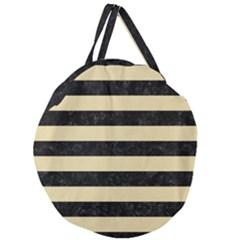Stripes2 Black Marble & Light Sand Giant Round Zipper Tote