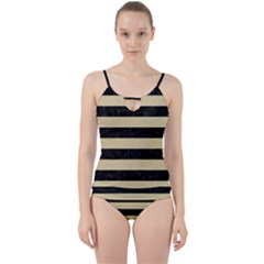 Stripes2 Black Marble & Light Sand Cut Out Top Tankini Set
