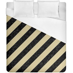 Stripes3 Black Marble & Light Sand Duvet Cover (california King Size) by trendistuff